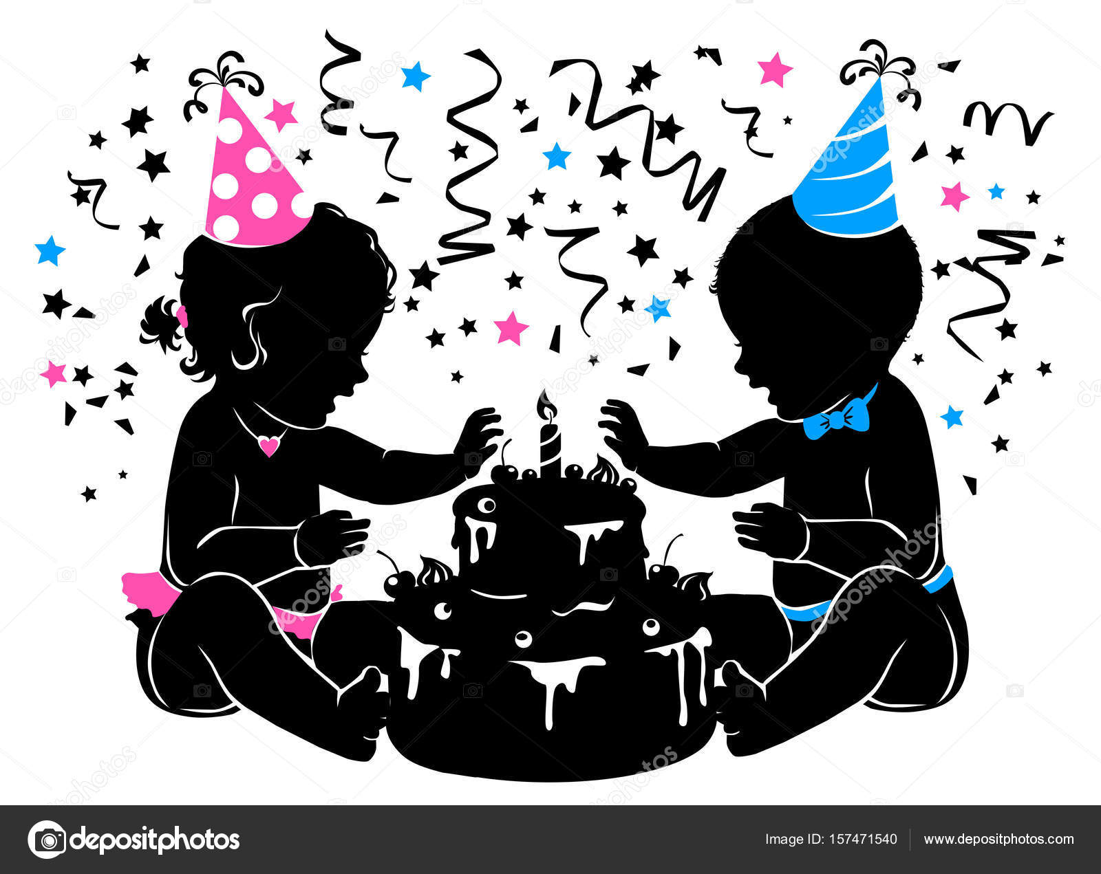 Silhouette Baby Boy Girl Twins With Birthday Cake With Candle