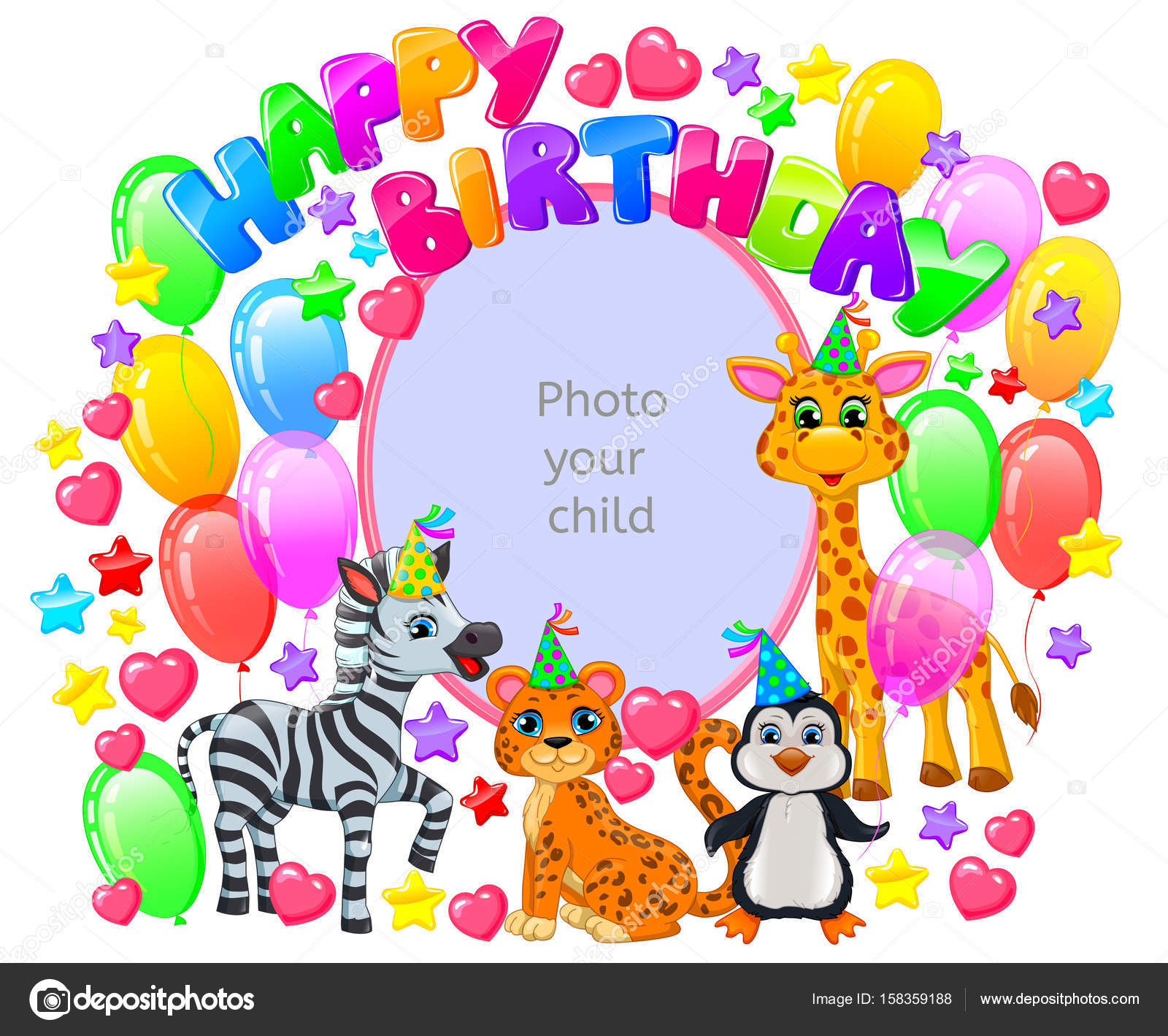 Geburtstag Rahmen Fur Ihr Babyfoto Stockvektor C Pinkkoala 158359188