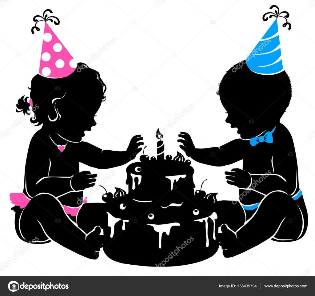 Jumeaux Bebe Silhouette Avec Gateau D Anniversaire Avec Bougies