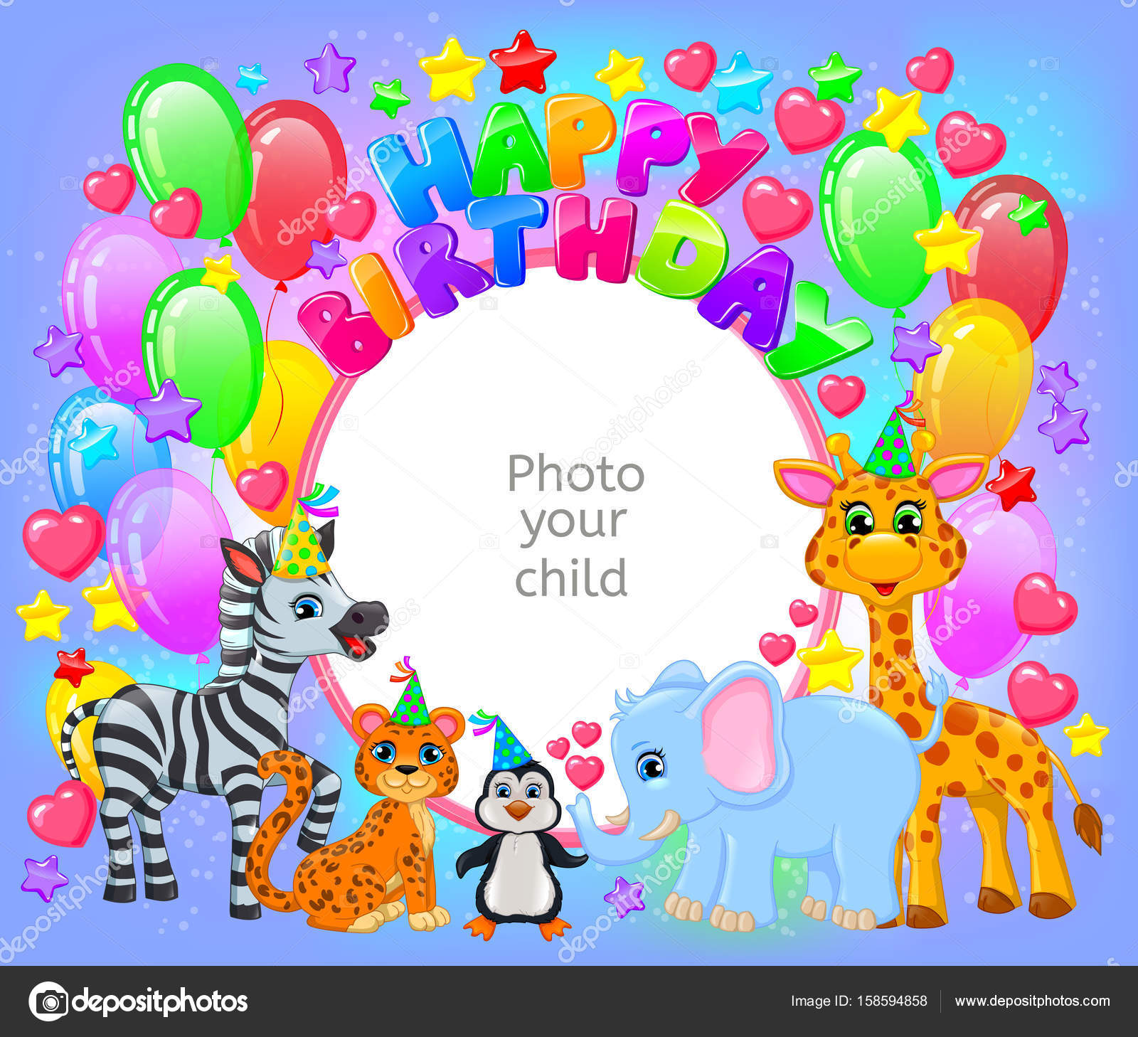 Geburtstag Party niedliche Tier Rahmen Ihre Babyfoto — Stockvektor ...