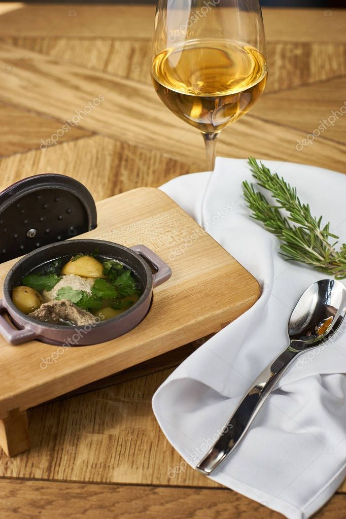 Potato soup with meatballs