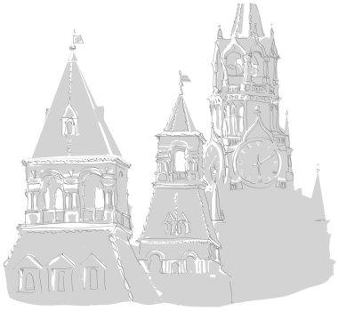 Kremlin towers/Fragments of Kremlin towers - Spassky, Konstantin & Elena and Nabatnaya. Vector scetch.