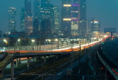 Night highway in Moscow