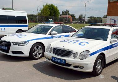 Road police patrol cars