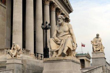 Sculptures of Greek philosophers at the Parliament building of Austria.