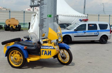 The old Soviet police motorcycle.