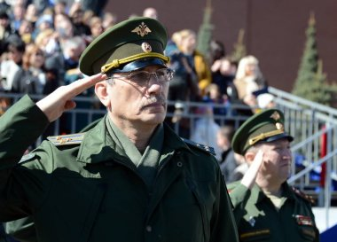 Officer during the national anthem on the red square during the General rehearsal of the parade dedicated to the 72 anniversary of the Victory in the great Patriotic war.