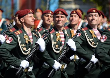 The soldiers of his division. Dzerzhinsky troops of the national guard on the General parade rehearsal in red square in honor of Victory Day.