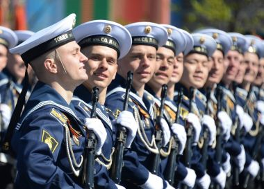 The cadets of the Pacific higher naval school imeni S. O. Makarov on the General parade rehearsal in red square in honor of Victory Day.