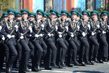 The cadets of the Moscow boundary Institute of FSB of Russia on the General parade rehearsal in red square in honor of Victory Day.