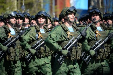 Paratroopers of the 331st guards airborne regiment in Kostroma at the dress rehearsal of parade on red square in honor of Victory Day.