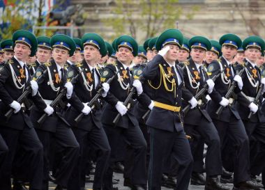 The cadets of the Moscow boundary Institute of FSB of Russia on red square during the parade in honor of Victory Day.