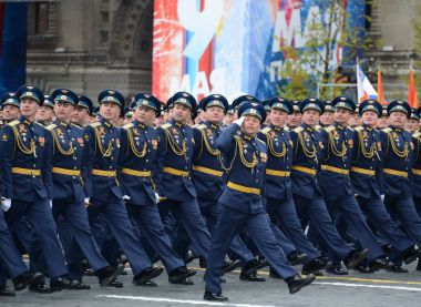 Officers of the air force Academy named after Professor N. E. Zhukovsky and Y. A. Gagarin during the parade on red square in honor of Victory Day.