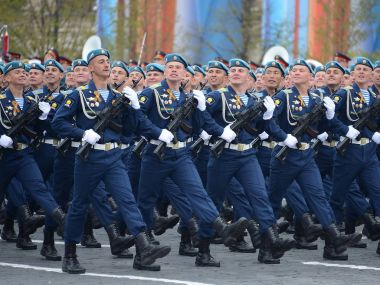 Cadets of the Ryazan airborne command school. V. F. Margelov (RVVDKU) during a parade on red square in honor of Victory Day.