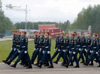 Cadets of the Civil Protection Academy of the Ministry of Emergency Situations of Russia in Noginsk Rescue Center.