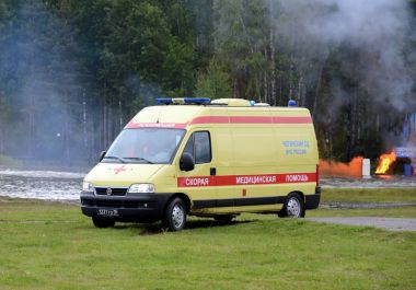 The ambulance car at the Noginsk rescue center of the Ministry of Emergency Situations during the International Salon