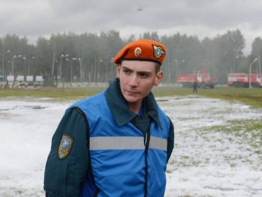 Unknown rescuer at the training ground of the Noginsk rescue center of the Ministry of Emergency Situations during the International Salon