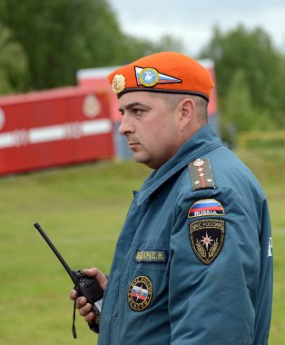 Rescuer at the training ground of the Noginsk rescue center of the Ministry of Emergency Situations during the International Salon
