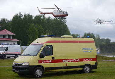 Transportation of the Ministry of Emergency Situations at the range of the Noginsk Rescue Center.