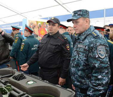 Colonel-General of the Police, Deputy Minister of the Interior of the Russian Federation Arkady Gostev at the International Salon