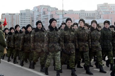 Cadets of the Moscow Cadet Musical Corps are preparing for the parade on November 7 in Red Square.