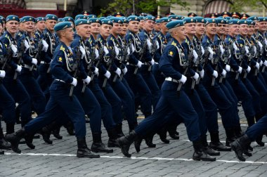 Cadets of the Ryazan airborne command school. V. Margelova at the parade rehearsal on red square in honor of Victory day.