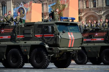 Parade in honor of Victory day in Moscow. Armored military police truck
