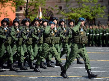 Paratroopers of the 331st guards airborne regiment in Kostroma during the parade on red square in honor of Victory Day.