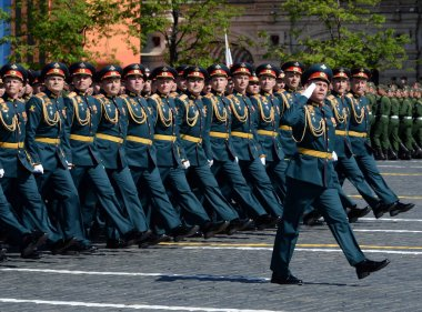 Officers of the combined Arms Academy of the Armed forces of the Russian Federation during the parade in honor of Victory day.