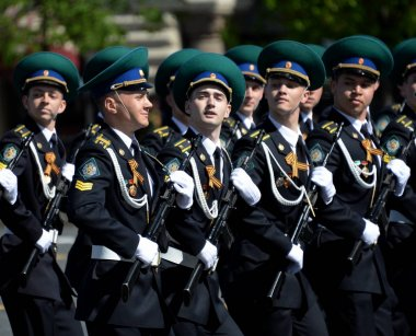 MOSCOW, RUSSIA - MAY 9, 2018: Cadets of the Moscow Frontier Institute of the Federal Security Service of Russia during the parade on Red Square in honor of Victory Day.