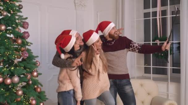 Family celebrating winter event.