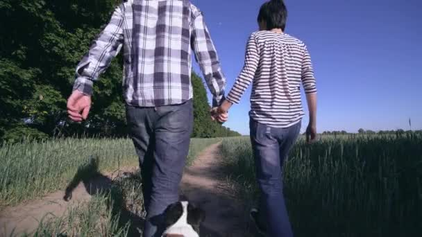 couple in love walk the dog