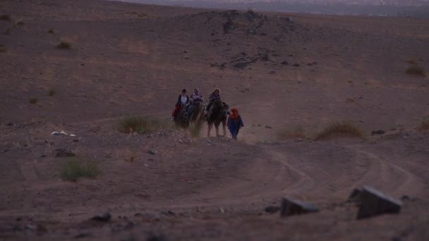Group of toursit approaching a Berber camp on camels