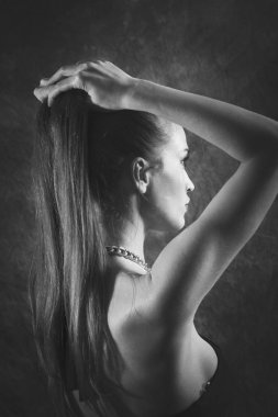 elegant woman with long hair beauty portrait bw