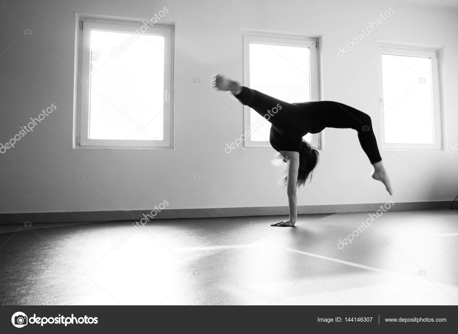 Woman Dancer Practice Floor Jump On Ballet Class Stock Photo