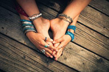 boho summer bracelets anklets rings on girl feet and hands outdo