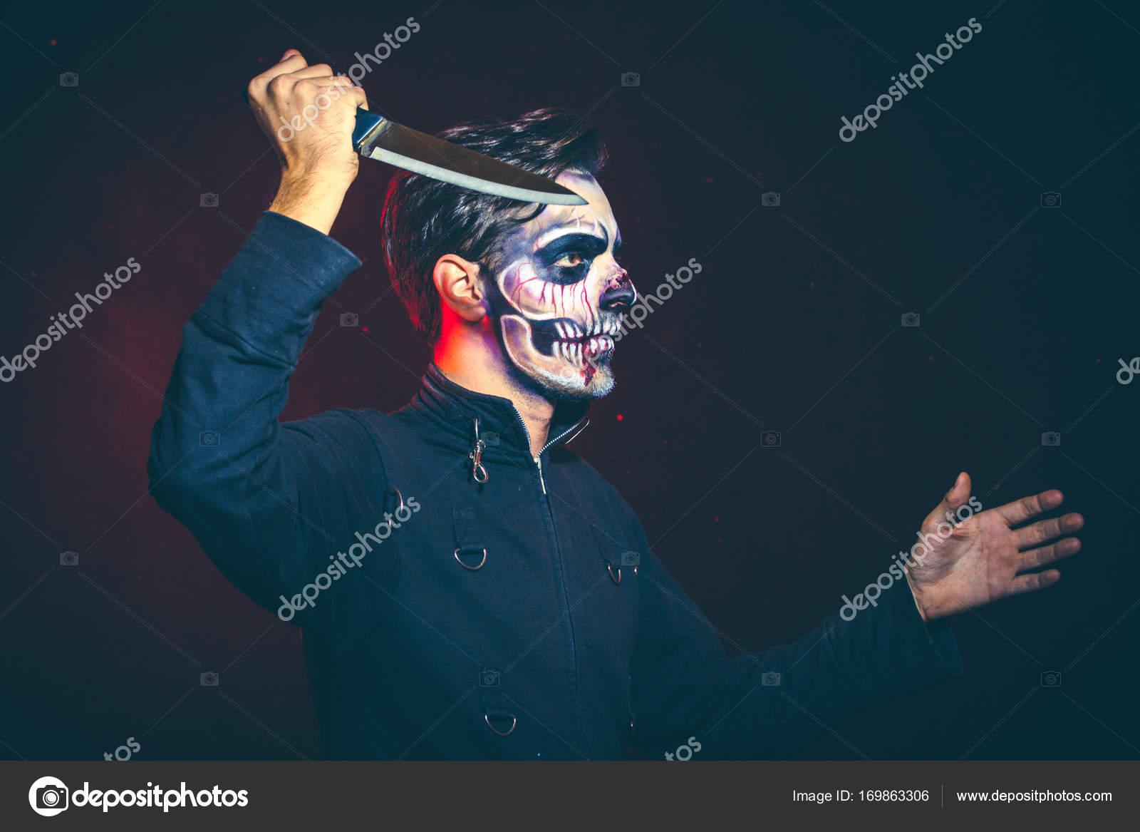 Sho Avec Homme Homme Homme Couteau Effrayant Effrayant Effrayant Studio Halloween Squelette Grand 0xqxw7vt