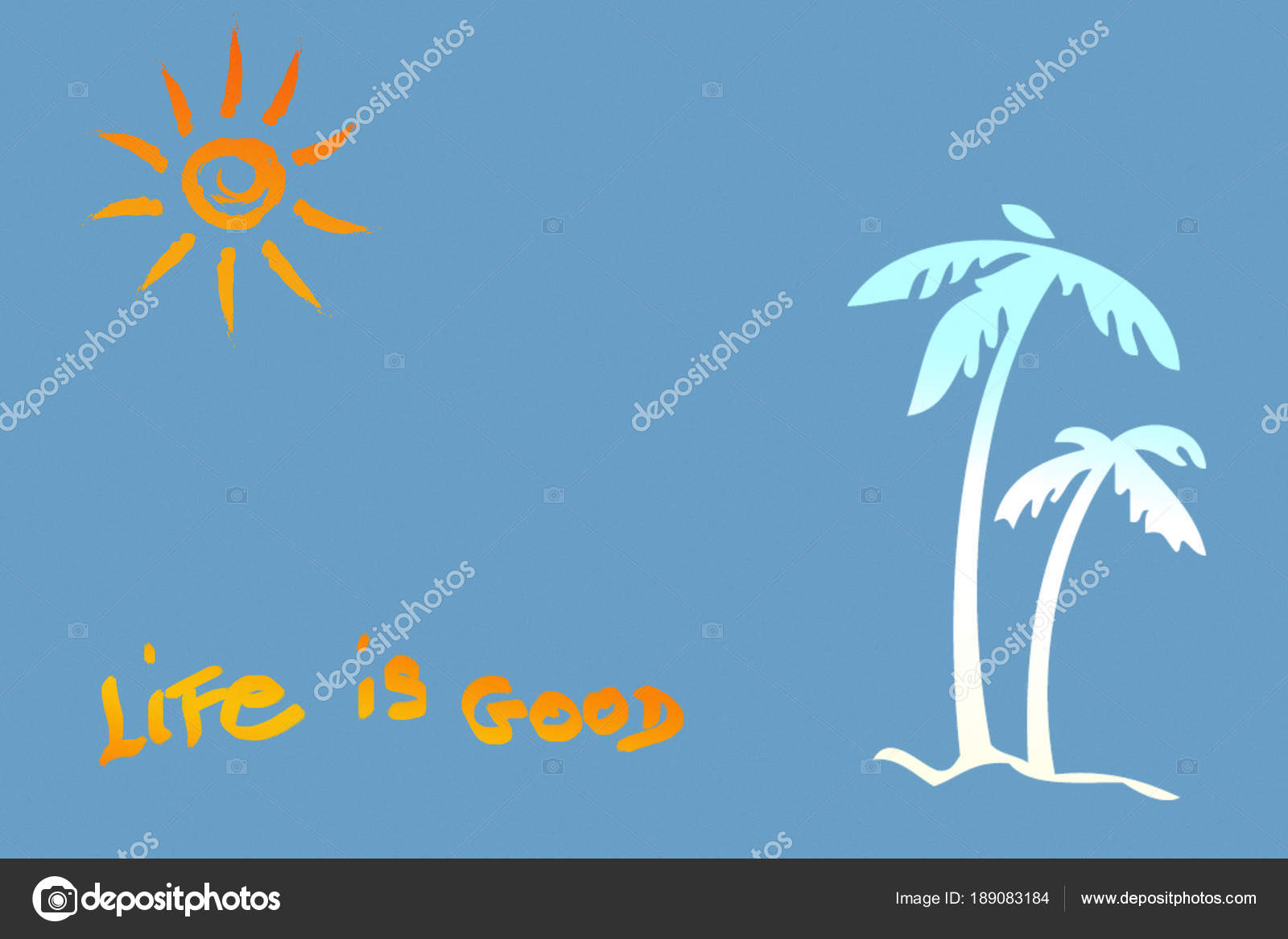 Palm Tree And Sunshine With Quote Background Stock Photo