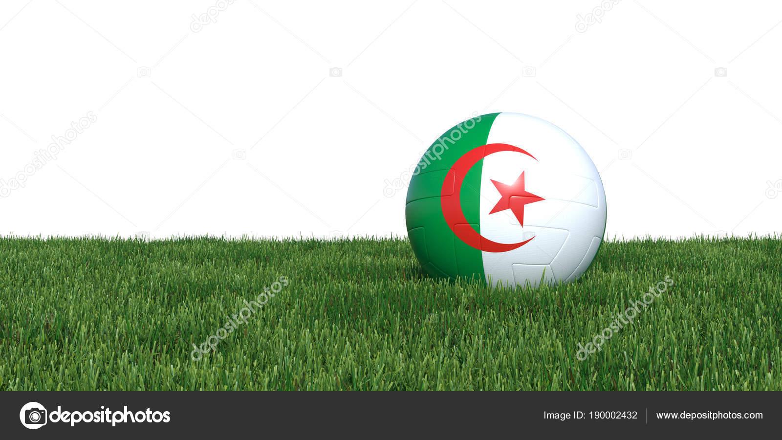Ballon De Football De Drapeau Algérien Algérie Se Situant