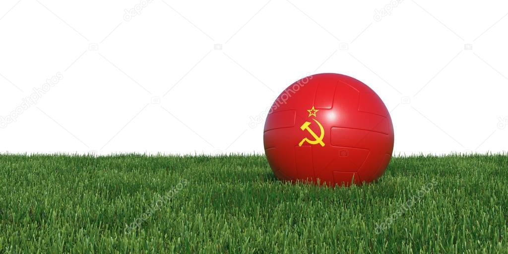 Soviet Union flag soccer ball lying in grass world cup 2018
