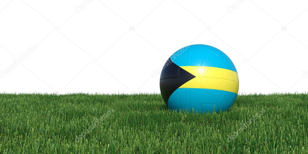 Bahamas Bahamians flag soccer ball lying in grass