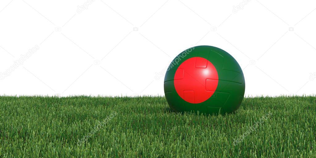 Bangladesh Bangladeshis flag soccer ball lying in grass