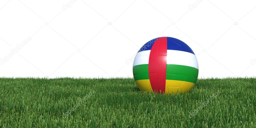 Central African Republic flag soccer ball lying in grass