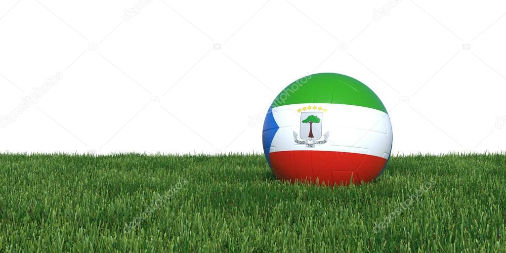 Equatorial Guinea Guinean flag soccer ball lying in grass