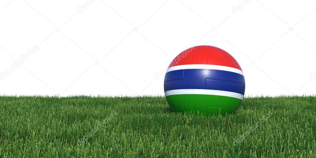 Gambia Gambian flag soccer ball lying in grass
