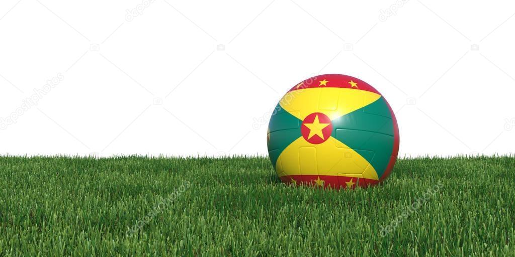 Grenada Grenadian flag soccer ball lying in grass