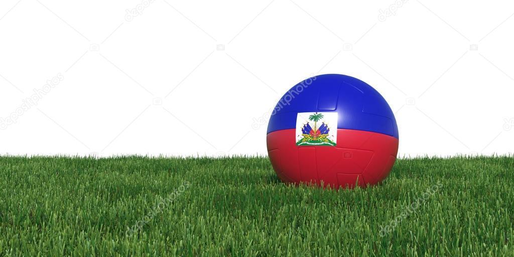 Haiti Haitian flag soccer ball lying in grass