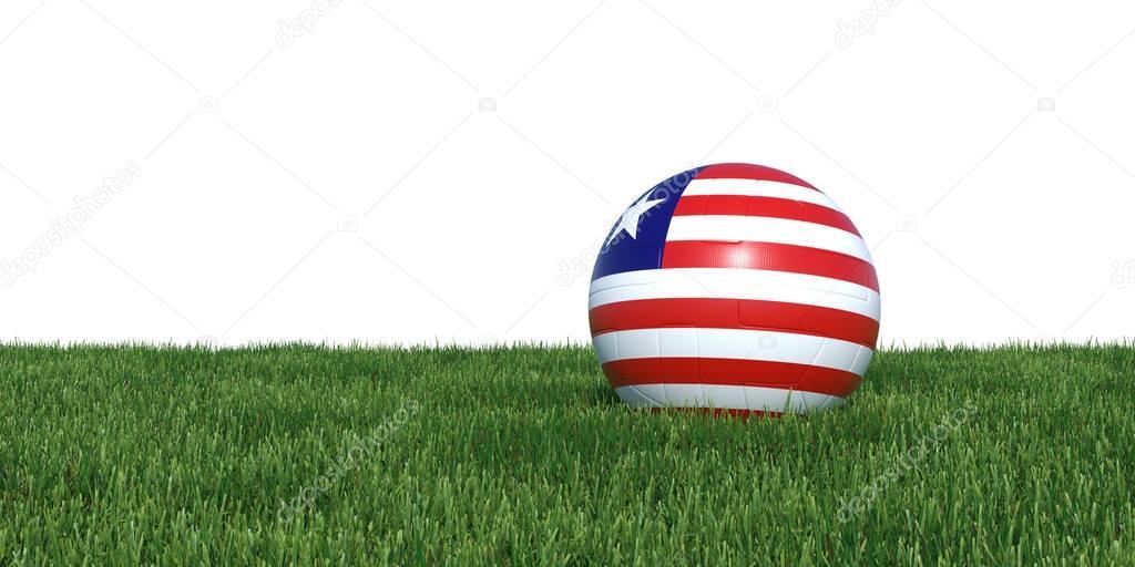 Liberia Liberian flag soccer ball lying in grass