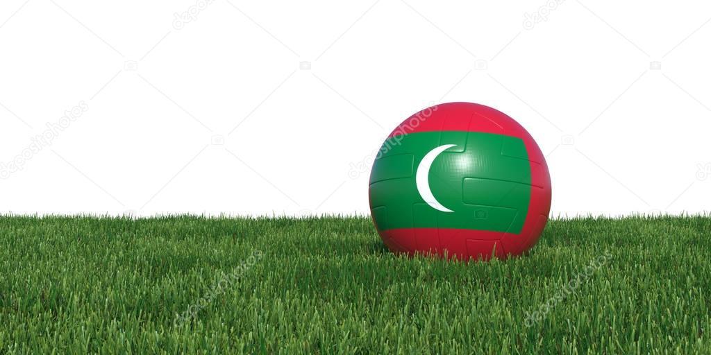 Maldivian Maldives flag soccer ball lying in grass