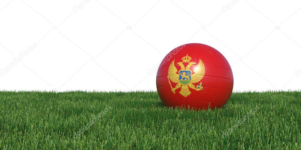 Montenegro Montenegrin flag soccer ball lying in grass